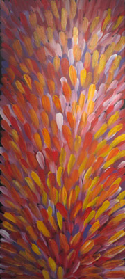 A painting called Bush Medicine Leaves by Gloria Petyarre