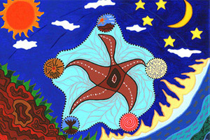 An Aboriginal painting called 'The Dance of Life'