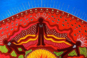 An Aboriginal painting called 'Healing, Ceremony and Law'